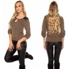 Koucla Dámský svetr s koženkou hnědý 7686ed680a