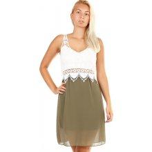 79d21634b0f2 Dvoubarevné šaty s krajkovými zády 329350 khaki