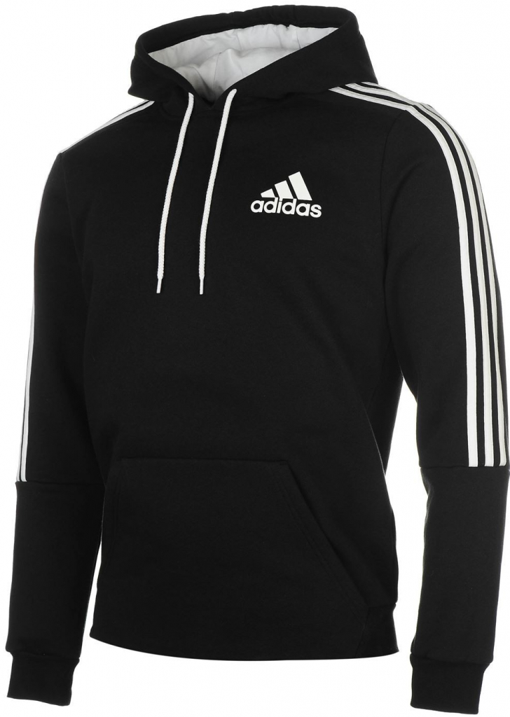 Adidas 3 Stripes Logo Over The Head Hoody Mens Black White b62bb662a59