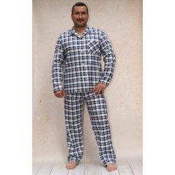 351ab04d6a66 Jirka pánské pyžamo dlouhé propínací flanelové modré alternativy ...