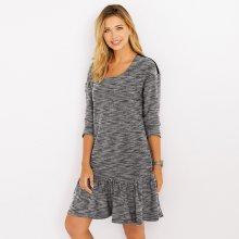 Venca krátké šaty s dlouhými rukávy melír černá f8f32e8fdf