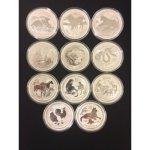 Lunární Stříbrné mince série II. 2008 2018 sada 11 x 2 Oz
