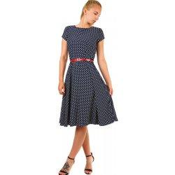 ccbcd9cad123 Dámské šaty TopMode dámské retro puntíkované šaty s páskem tmavě modrá