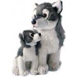 Rappa plyšový vlk s mládětem sedící 27cm