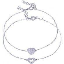 Náramek Klenota set dvou stříbrných srdce ze zirkonů LV14SB007c