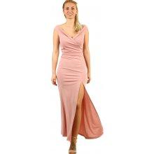 9e5f6571e2 YooY dlouhé společenské šaty s rozparkem starorůžová