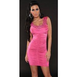 ecd85c6c553c Koucla dámské sexy šaty s korálky 2053 růžová. Nepřehlédnutelné dámské mini  ...