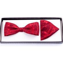 Ohnivě červený pánský motýlek s kapesníčkem Assante 90211