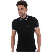 ! Armani Mens Stretch Cotton Jersey Polo Shirt Black