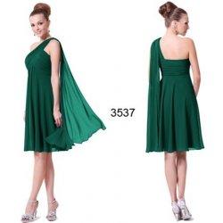 bc2d9254587d Šifonové krátké společenské šaty na jedno rameno pro svatební matky zelená