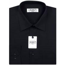 Pánská košile AMJ jednobarevná JD017 Černá dlouhý rukáv aa3f79a401
