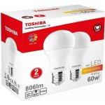 Toshiba A60 duo pack LED žárovka E27 8.5W / 806lm / 2700K / Teplá bílá
