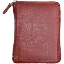 dámská tmavě kožená peněženka celá dokola na zip červená