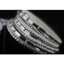 Shine bižuterní textilní náramek s většími krystalky šedý TN001