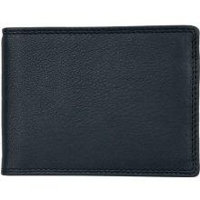 Kožená peněženka dolarka o velikosti normální peněženky z měkké černé kůže s místem na větší doklady