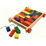 Bino 80151 Vozík s dřevěnými kostkami 34 ks