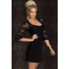 1e8e064a22e4 LM moda luxusní krajkové šaty s dlouhým rukávem 4146 černá