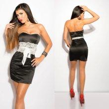 Bandeau mini šaty s krajkou a mašlí Koucla černé 26929bdbfd