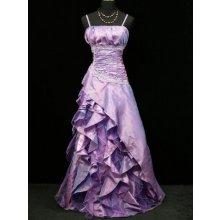 Fialkové levandulové romantické společenské plesové šaty s volány na svatbu