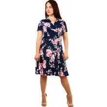 YooY retro dámské šaty s potiskem pro plnoštíhlé tmavě modrá 4fecfeb774