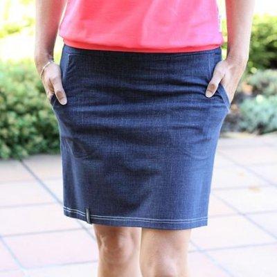 ObleCzech letní sukně denim 34 tmavě modrá