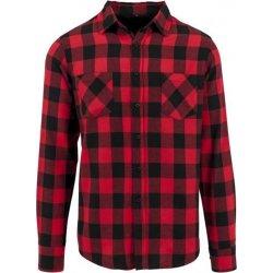 Pánská Košile Build Your Brand Kostkovaná flanelová košile černo - červené  kostičky 77e7bb3337
