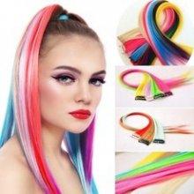 Barevné melírovací clip in pásky - pastelové barvy 48 cm - fialová t3737