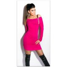 3896622f0295 Koucla dámské svetrové mini šaty s kamínky a zipem 228187-7 růžová