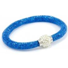 Murano náramek dutinka s krystaly z broušeného skla modrá Tubo Conteria 10000540501