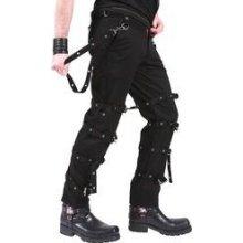 Gotické kalhoty pánské s pásky a karabinami