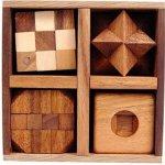 Hlavolam dřevěný 5 Puzzles sada pěti hlavolamů