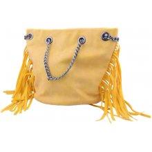 Mahel dámská kabelka s třásněmi žlutá