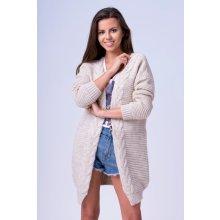 Fashionweek Neobvyklý pletený svetr kabát pro chladné dny SHENA Béžový ffc3e7f610