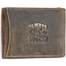 Born to be wild kožená peněženka z přírodní pevné kůže se škorpionem