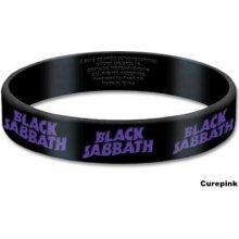 CurePink silikonový náramek Black Sabbath Logo černý BSGUM01