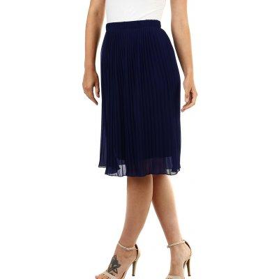 Glara plisovaná sukně s pružným pasem tmavě modrá