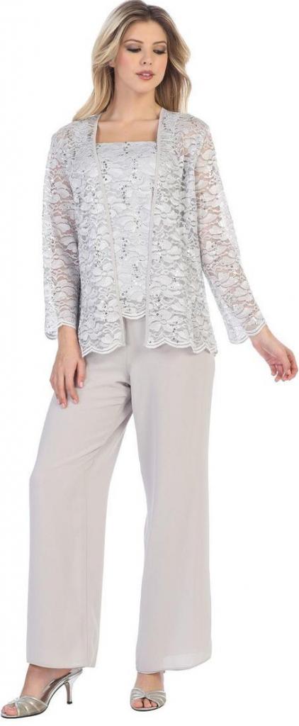 92917bc1655 Dámský kostým Glamor kalhotový kostým pro společenskou událost šedý ...