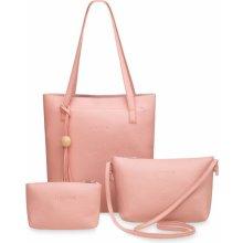 sada 3v1 kabelky shopperbag listonoška + taštička pudrová růžová 73c20930de