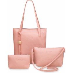 6346bdf9e7 sada 3v1 kabelky shopperbag listonoška + taštička pudrová růžová ...
