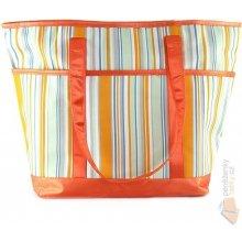 Plážová taška Idena pruhovaná oranžová
