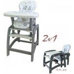 Baby Mix Jídelní židlička 2v1 šedá
