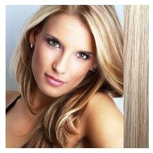 Lidské vlasy - Clip in sada Remy - 55 cm - 7 dílná - odstín 27/613 - mix blond