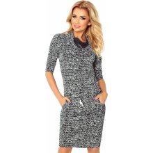 c2d8b83f9d0 Numoco antracitové šaty s textem 44-15 tmavě šedá