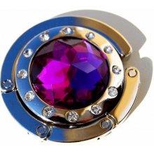 Háček na kabelku fialový s kamínky