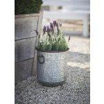 Garden Trading Plechový květináč Malmesbury S, šedá barva, stříbrná