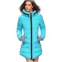 Dámská dlouhá zimní bunda s límcem MODRÁ