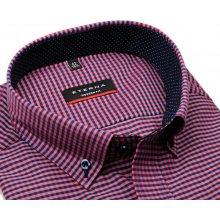 Eterna Modern Fit – košile s červeno-modrým kárem s vnitřním límcem a  manžetou 5d3bdc8ac8