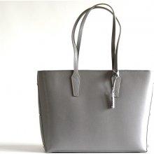 Bright elegantní kožená kabelka A4 do ruky jemně lesklá šedá 88997533b08