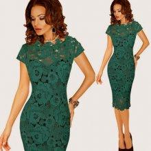 Pouzdrové krajkové šaty midi 80325641-3 zelená 6ff1b949bf4