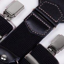 Assante Luxusní černé kšandy kožená poutka 90029